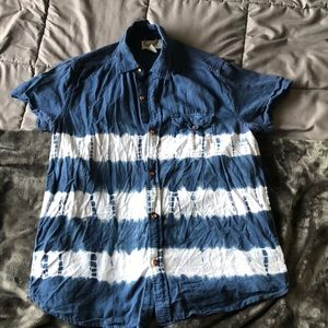 Koto Japanese Tie Die S/L Button Down Shirt L